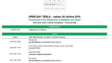 L'auto elettrica Tesla nella nostra azienda per l'Open Day Tesla